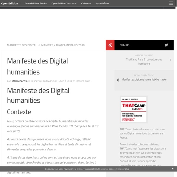 Manifeste des Digital humanities – THATCamp Paris