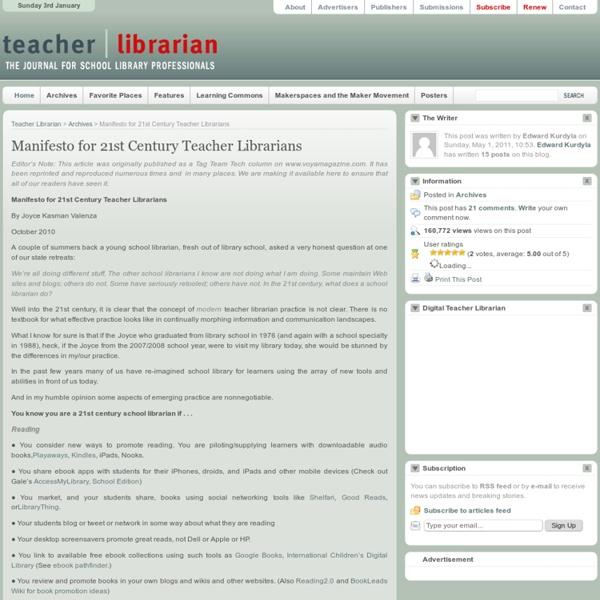 Manifesto for 21st Century Teacher Librarians