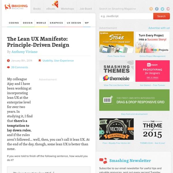 The Lean UX Manifesto: Principle-Driven Design