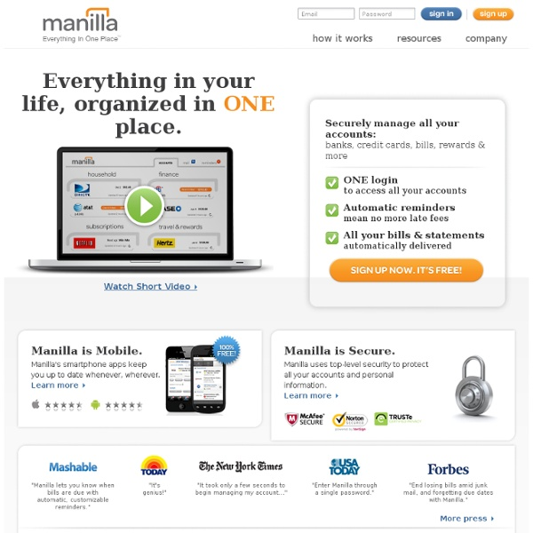 Manilla » Free Online Account and Bill Organizer