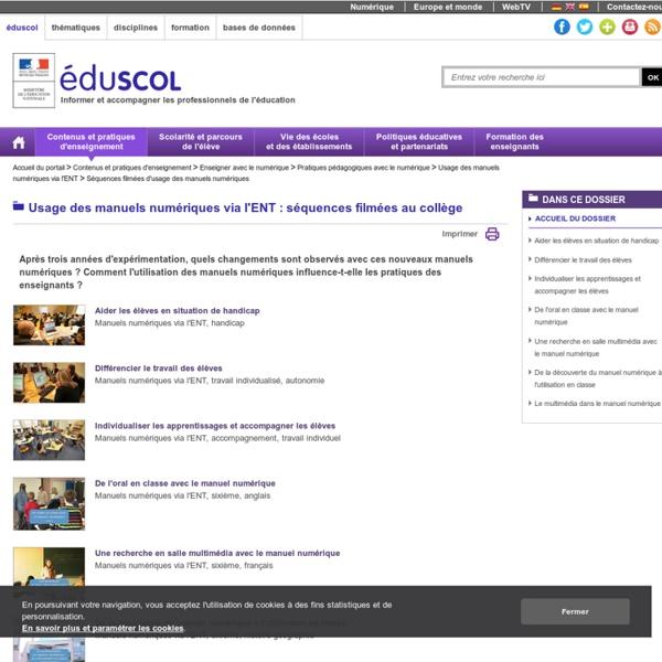 Usage des manuels numériques via l'ENT : séquences filmées au collège