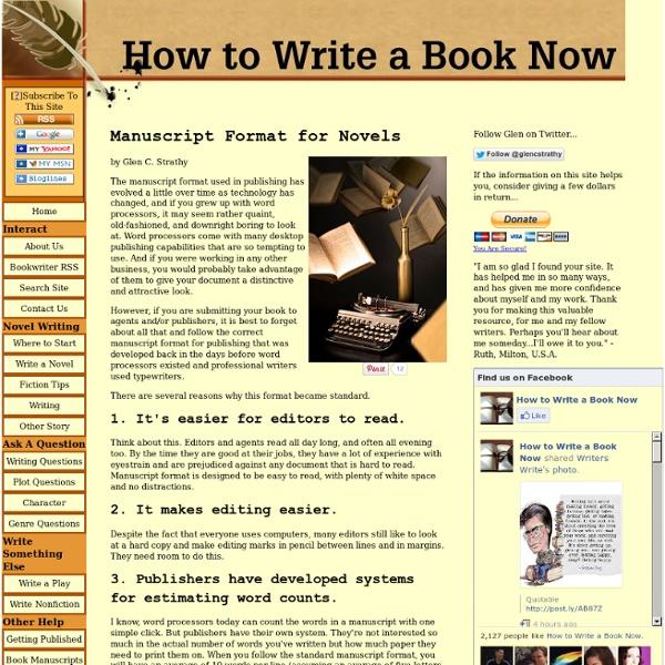 Manuscript Format for Novels