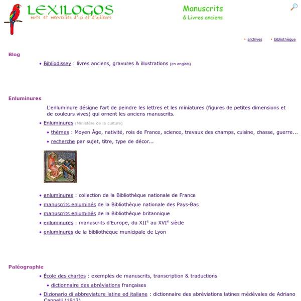 Manuscrits, Enluminures, Livres anciens en ligne LEXILOGOS