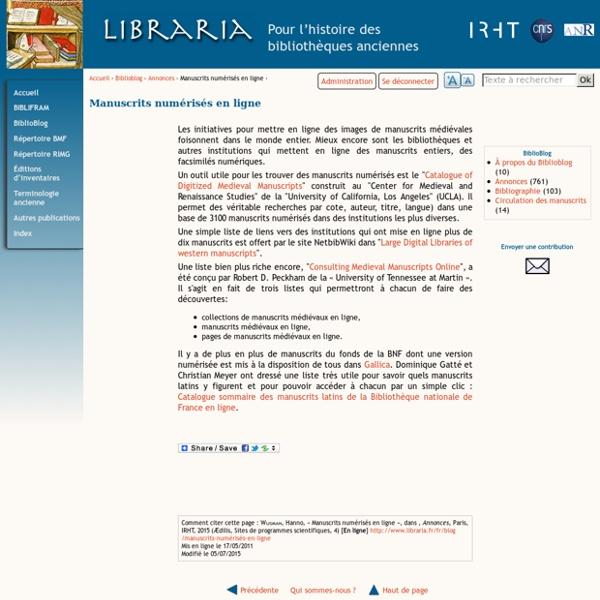 Manuscrits numérisés en ligne