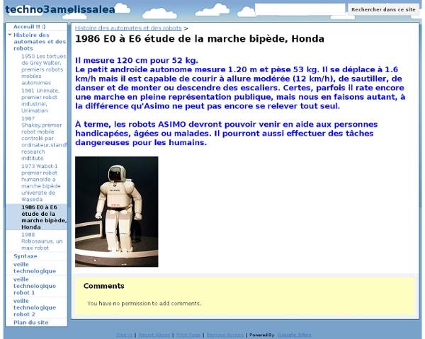 1986 E0 à E6 étude de la marche bipède, Honda - techno3amelissalea