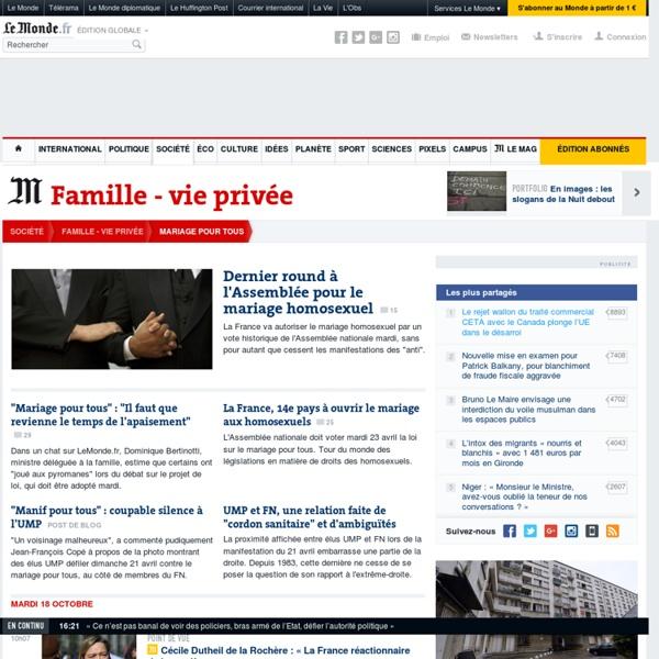 Mariage pour tous : Toute l'actualité sur Le Monde.fr.