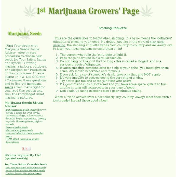 Marijuana use - Smoking Etiquette