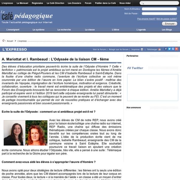 A. Mariottat et I. Rambeaud : L'Odyssée de la liaison CM - 6ème