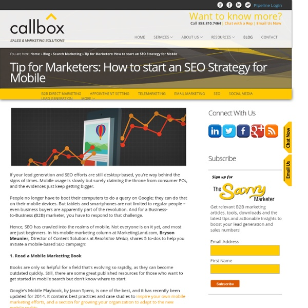 Tip for Marketers: How to start an SEO Strategy for Mobile