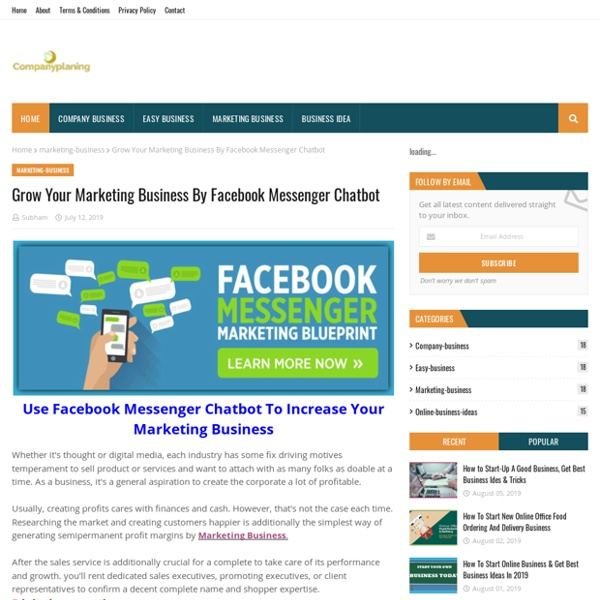 Grow Your Marketing Business By Facebook Messenger Chatbot