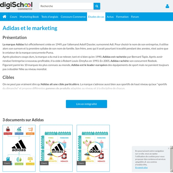 Adidas : Etudes, analyses Marketing et Communication d'Adidas