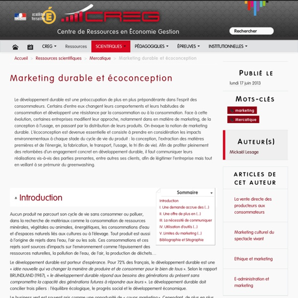 Marketing durable et écoconception