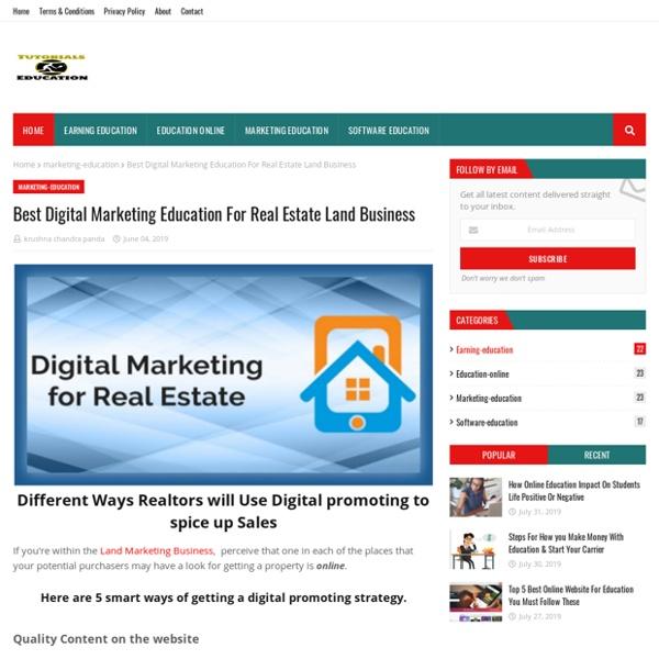 Best Digital Marketing Education For Real Estate Land Business