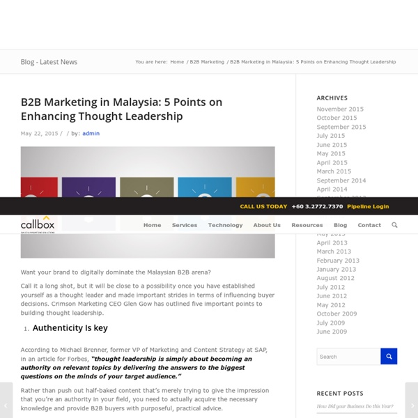B2B Marketing in Malaysia: 5 Points on Enhancing Thought Leadership