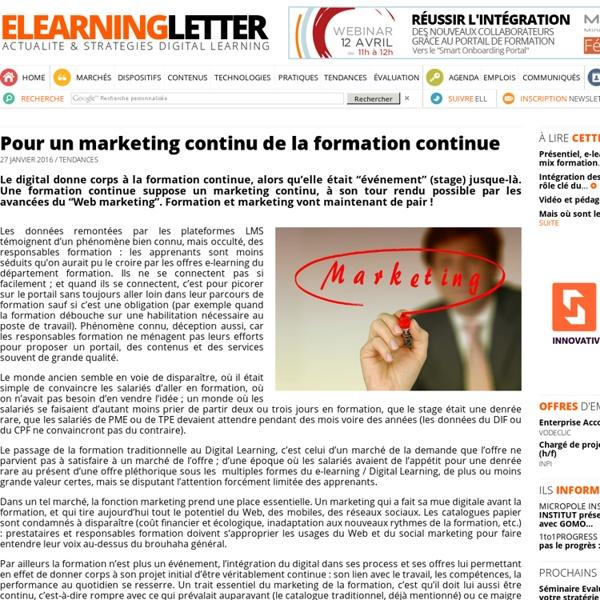 Pour un marketing continu de la formation continue (e-learning letter)