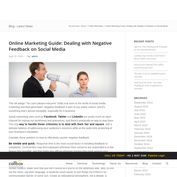 Online Marketing Guide - Dealing with Negative Feedback on Social MediaB2B Lead Generation, Appointment Setting, Telemarketing