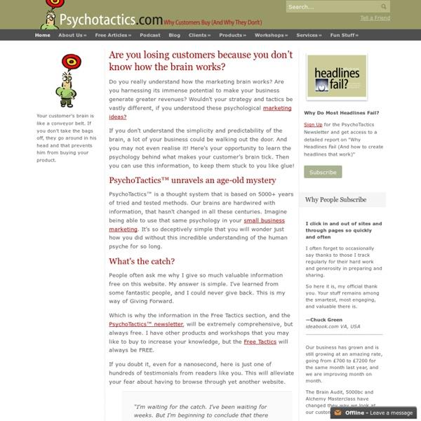 Psychological Marketing Business Tactics: Big And Small Business Ideas - Psychotactics - Big and Small Business Ideas