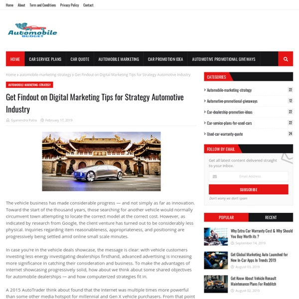 Get Findout on Digital Marketing Tips for Strategy Automotive Industry