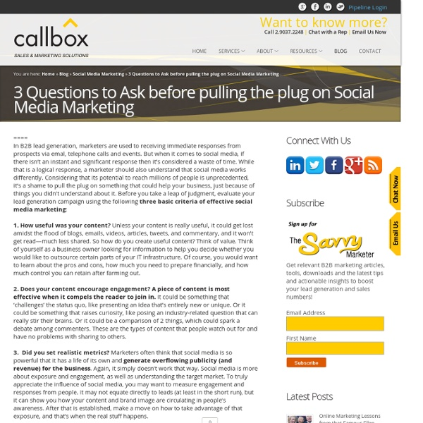 3 Questions to Ask before pulling the plug on Social Media MarketingB2B Appointment Setting