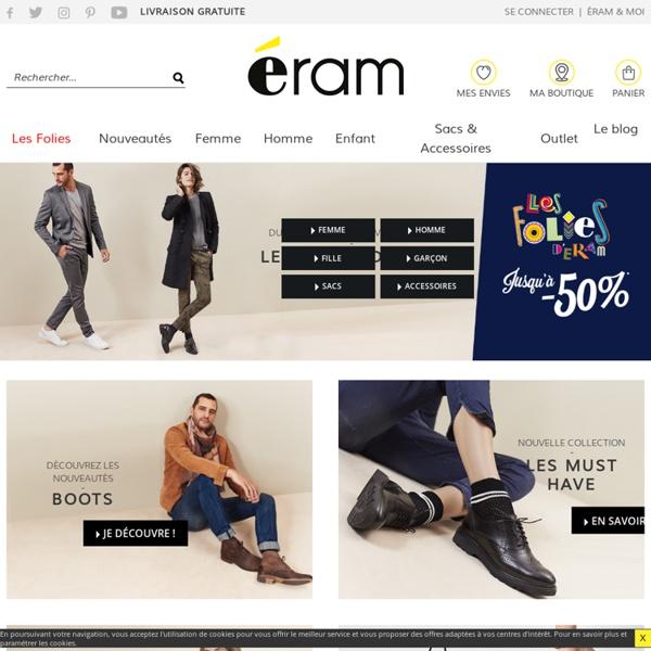 ERAM - Achat vente chaussures en ligne pour femme, homme, enfant, sport... Il faudrait être fou pour dépenser plus !