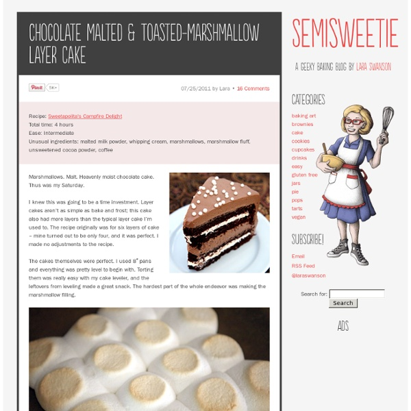Chocolate Malted & Toasted-Marshmallow Layer Cake - Semisweetie, A geeky baking and recipe blog