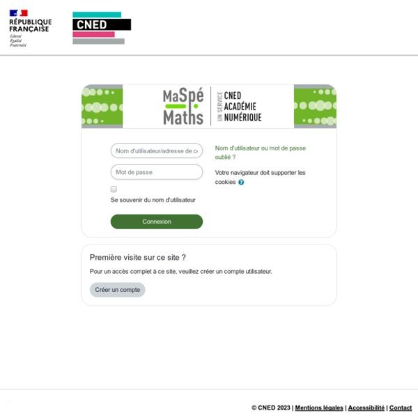 MaSpéMaths: Se connecter sur le site