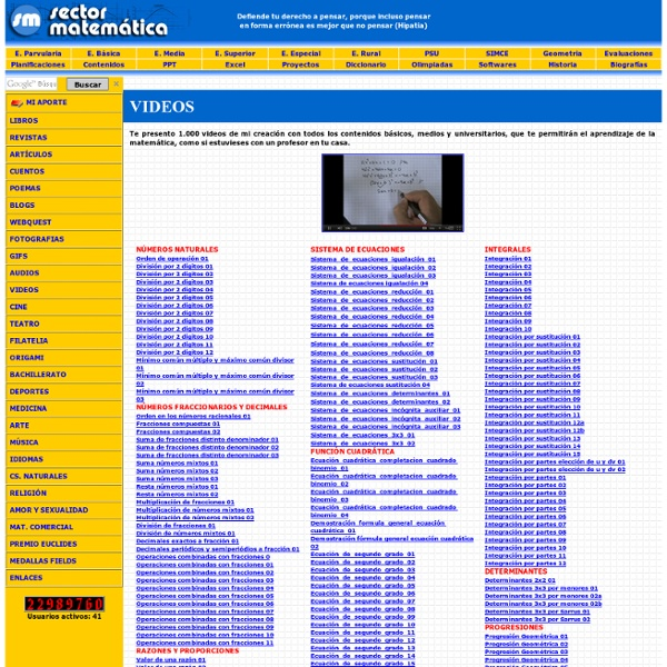 SectorMatemática - El Portal de las Matemáticas - Danny Perich Campana - Página Personal