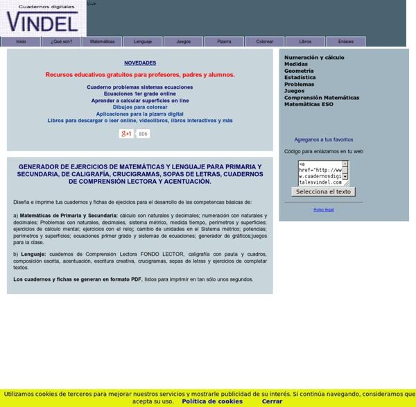 Cuadernos Vindel. Matemáticas y lengua de Primaria