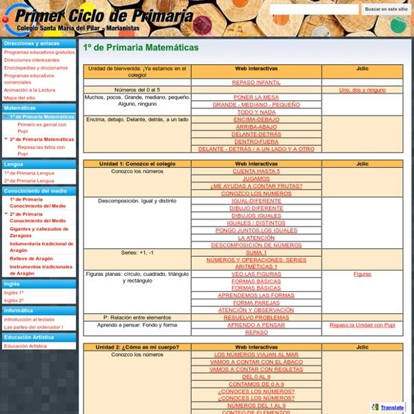 1º de Primaria Matemáticas - MARIANISTAS - PRIMER CICLO