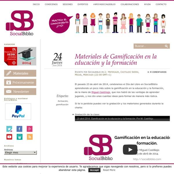"""Materiales de """"Gamificación en la educación y la formación"""""""