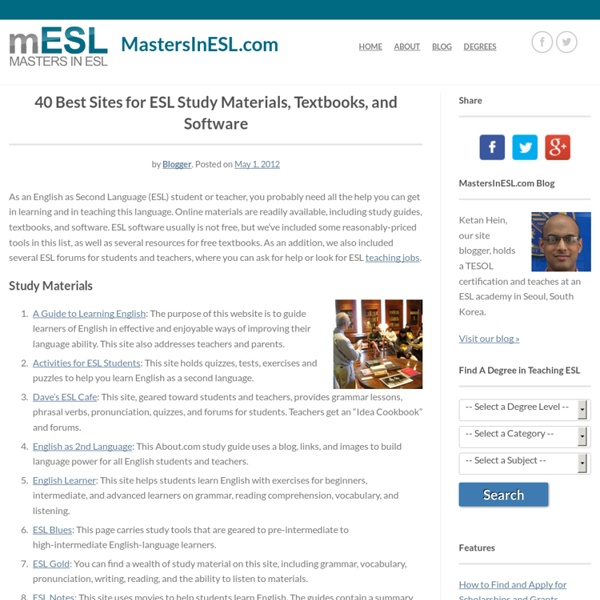 40 Best Sites for ESL Study Materials, Textbooks, and Software –