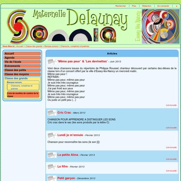 Ecole Maternelle Sonia Delaunay - Chansons, comptines et poèmes