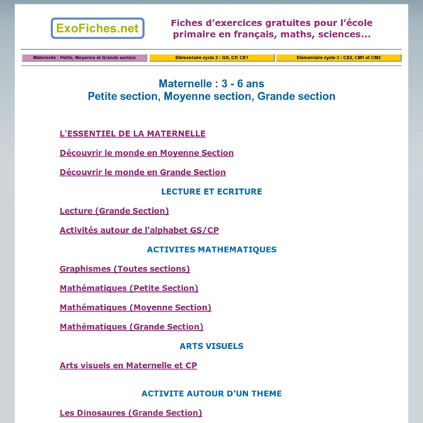 Maternelle : Petite section, Moyenne section et Grande section