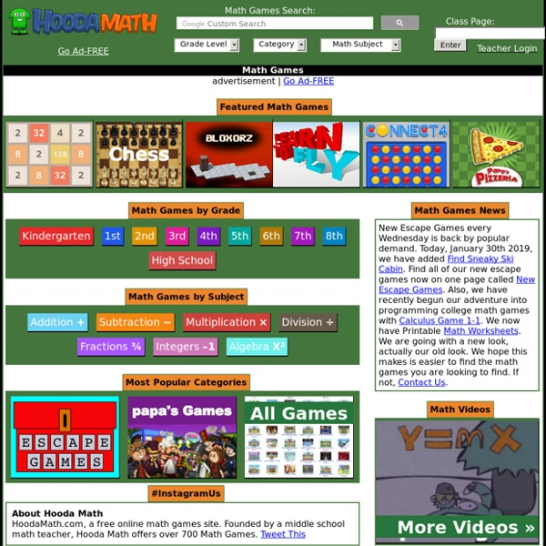Math Games - HOODA MATH - over 100 Math Games