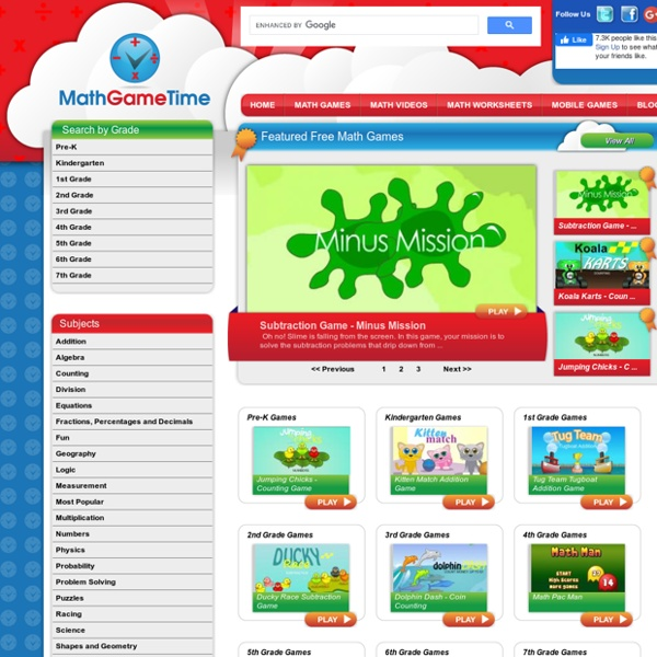 Math Game Time Free Math Games Videos Worksheets For Kids