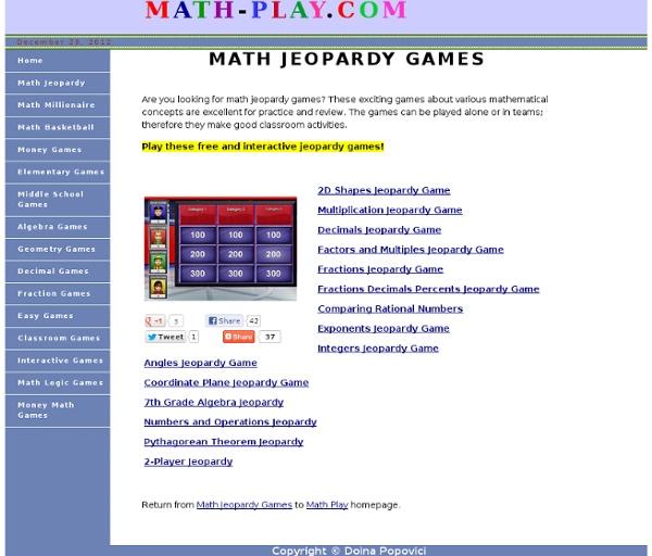 Math Jeopardy Games