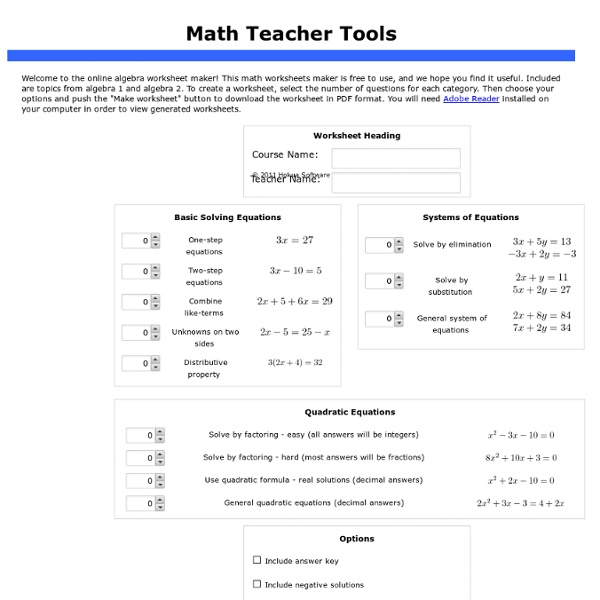 Math Teacher Tools