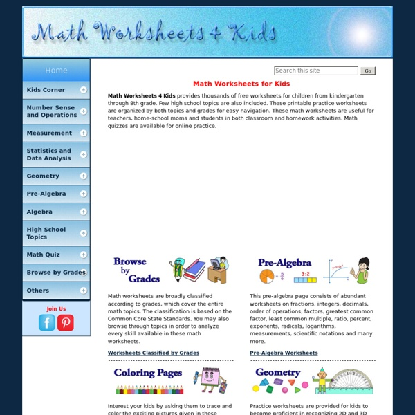 Free Printable Math Worksheets For Kids