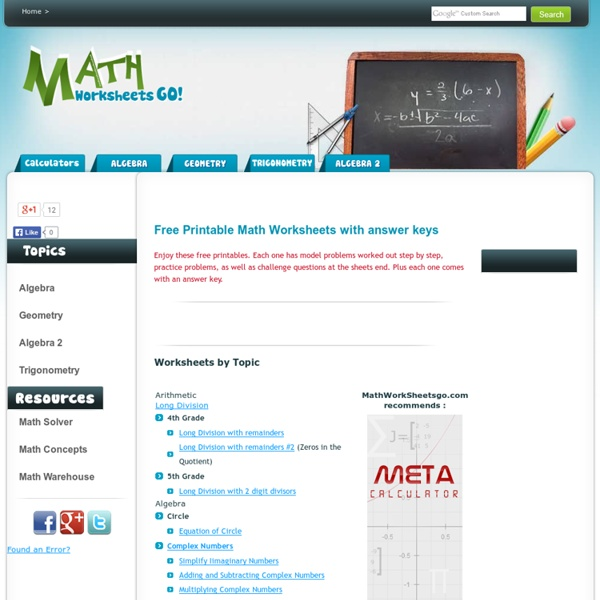 Math Worksheets Go Free Printable Math Worksheets Pearltrees