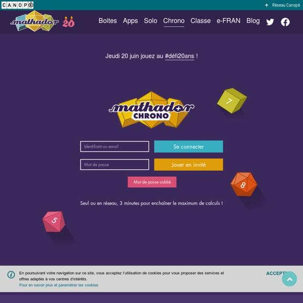 Mathador Chrono : Jeu en ligne pour s'entraîner au calcul mental