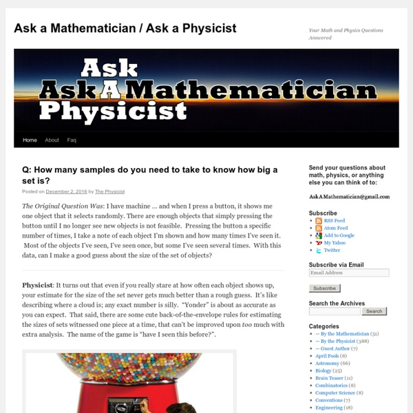 Your Math and Physics Questions Answered