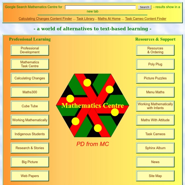 Mathematics Centre: ... A world of alternatives to text-based learning