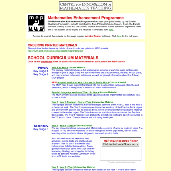 Centre for Innovation in Mathematics Teaching - Mathematics Enhancement Programme