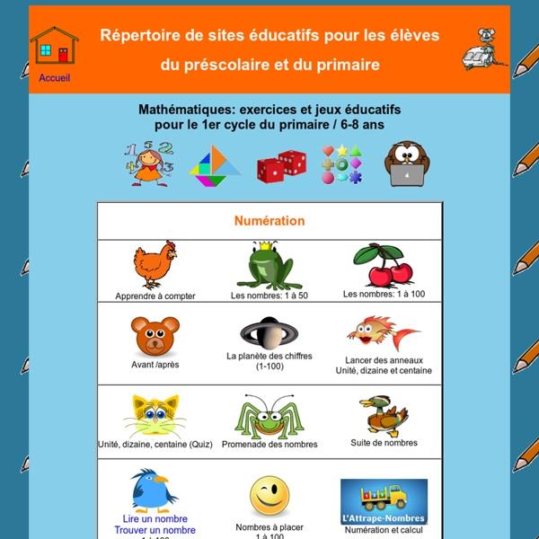 Sites éducatifs pour le préscolaire et le primaire - Mathématique 1er cycle du primaire