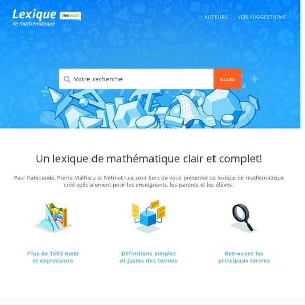 Accueil – Lexique de mathématique
