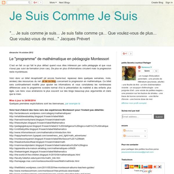 """Le """"programme"""" de mathématique en pédagogie Montessori"""