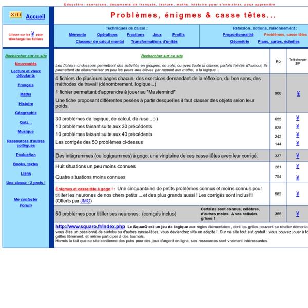 Mathématique, énigmes, casse-tête, problèmes, exercices