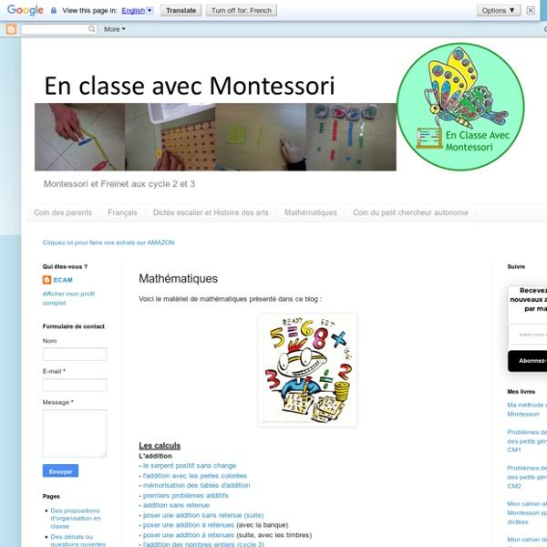 En classe avec Montessori: Mathématiques