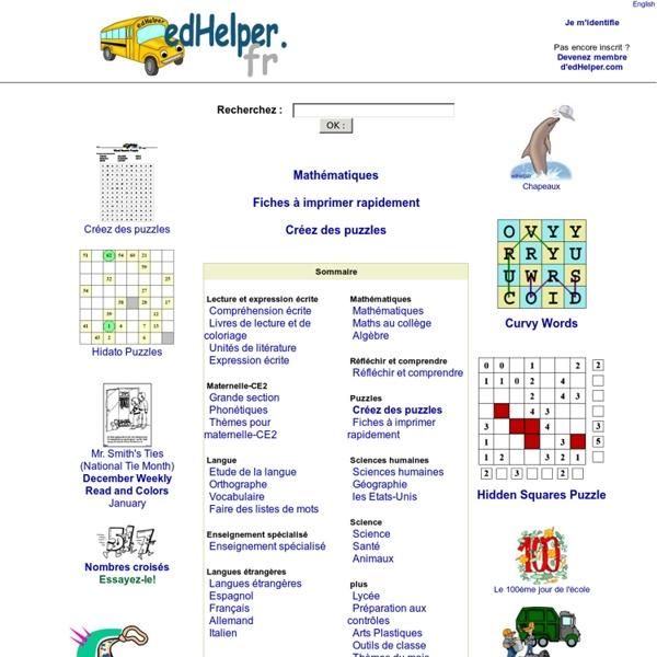 Mathématiques, compréhension ecrite, thèmes, progressions et fiches de travail
