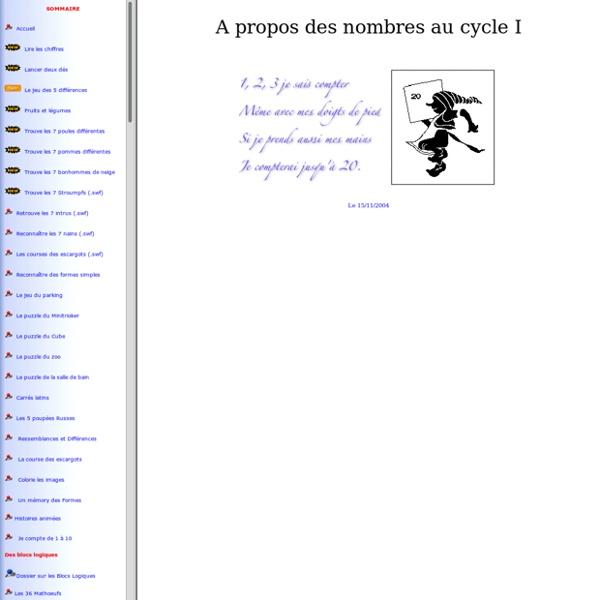 Mathématiques au cycle 1. Un site de Jean-Louis SIGRIST